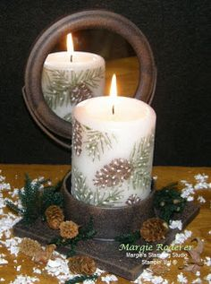 Peaceful Wishes, a favorite of mine by Stampin' Up!  Stamp image on tissue paper, add to candle using a heat gun. Margie's Stamping Studio