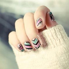 Art on nails Nail Art! more nails Nails / I wish I was talented enough to do this on both hands! Free Nail Technician Information www. Gorgeous Nails, Love Nails, Fun Nails, Pretty Nails, Chic Nails, Style Nails, Sexy Nails, Tribal Print Nails, Tribal Nails