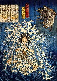 Utagawa Kuniyoshi: Keyamura Rokusuke under the Hikosan Gongen waterfall
