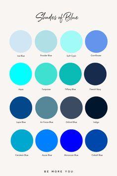 Purple Color Names, Blue Shades Colors, Blue Colour Palette, Colour Schemes, Pantone Colour Palettes, Pantone Color, Color Names Chart, Color Psychology, World Of Color
