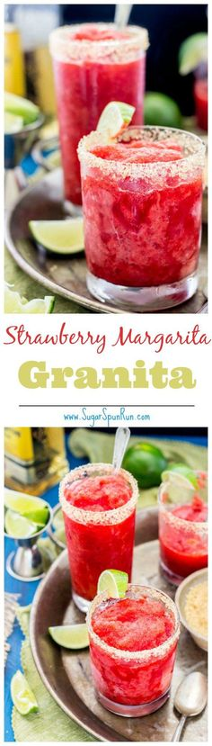 Strawberry Margarita Granita -- http://www.sugarspunrun.com