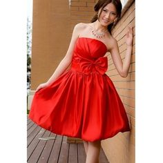 Lovely Bow Embellished Strapless Off The Shoulder Sleeveless Red Taffeta A Line Knee Length Bridesmaid Dress