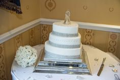 3 tier heart shaped simple Wedding cake with crystals.