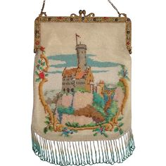 Scenic Beaded Purse, german castle 'Lichtenstein',  jeweled Frame