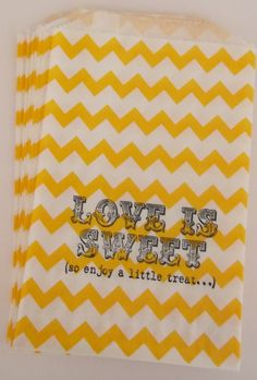 50 Yellow Chevron 'Love is Sweet, So enjoy a little treat...' candy bags, wedding cake bags, candy station bags, favor bags on Etsy, $25.00