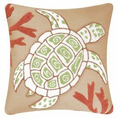 "Bring a touch of coastal charm to your living room or den with this charming pillow, showcasing an embroidered sea turtle and coral motif.  Product: PillowConstruction Material: Cotton cover and polyester fillColor: MultiFeatures: Embroidered detailsInsert includedDimensions: 18"" x 18"""