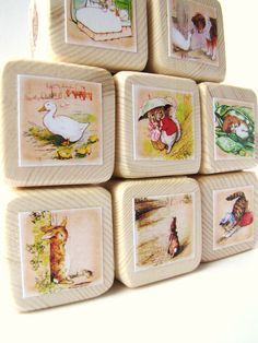 The Tale of Peter Rabbit. Beatrix Potter. Wood Baby Blocks.  Easter gift. Toy. Shabby Chic Nursery Decor.. $28.00, via Etsy.