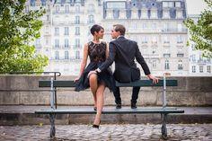 Fashionable couple on Ile Saint Louis in Paris