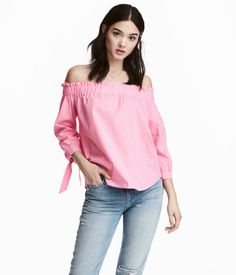 Off-the-shoulder blouse | Pink/White check | Ladies | H&M SG