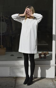 Anaïse | Horses Atelier Pintuck Smock Casual Street Style, Casual Chic, Style Wish, My Style, Workwear Fashion, Fashion 2017, Street Fashion, Minimal Fashion, White Dress