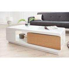 Moderne salontafel Fortuna wit/eiken - 36221