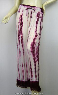 FESTIVAL -  Tie Dye Rayon Crepe Shirred Hippie Pants Size 8 - 16 Au