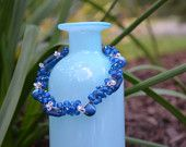 Bracelet: Crocheted Gray S-Lon Cord with Various Types and Shaped Blue Beads (& a Few Small White Beads