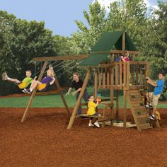 Rival Ready to Assemble Starter Play Set  $603.99 at Menards  14 Sq. Ft. of Play Deck with: Scoop Slide, Picnic Table, Combo Climber with Rock Wall and Stairs, 2 Canopy Roof, Climbing Rope, Play Handles, Telescope, Sand Box, 2 Swings & Gym Rings
