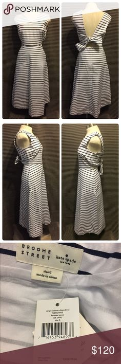 Kate Spade Nautical Dress NWT Broome Street by Kate Spade New York mid length white with navy blue stripes cotton a-line dress with tie back. New with tags.   Don't forget to look at my other items for bundling opportunities!🙂 More listings to come! kate spade Dresses Midi