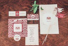 Red wedding stationery