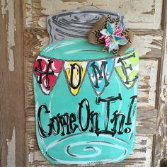Mason Jar Door Hanger - Spring Door Hanger - Personalized Door Hanger - Door Decor - Spring Decor - Spring Decorations Country Home Decor