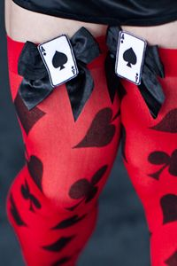 Playing Card Suit Thigh Highs Poker Casino Lady Luck Alice Queen Hearts Gambler