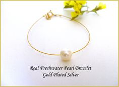 Excited to share the latest addition to my #etsy shop: One Pearl Bracelet, Real Freshwater Pearl, Single Pearl Bracelet, Dainty Pearl Bracelet, Simple Pearl Bracelet, Bridesmaid Gift. http://etsy.me/2n3udmv #jewelry #bracelet #gold #pearlshell #girls #pearl #white #lovefriendship