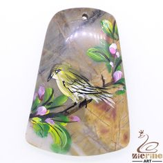 Creative Pendant Hand Painted Bird Natural Agate ZL80824 #ZL #Pendant