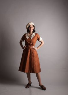 Vintage 1930s Dress  Cotton 30s Dress  Caramel by concettascloset, $138.00