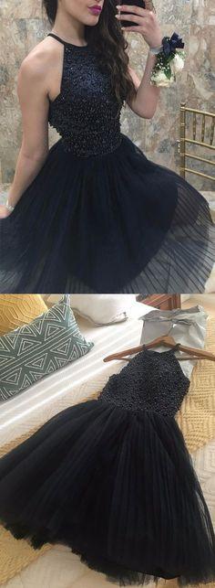 Cute Halter Black Homecoming Dress,Beaded Tulle Homecoming Dresses,A line Homecoming Dress,Short Prom Dresses