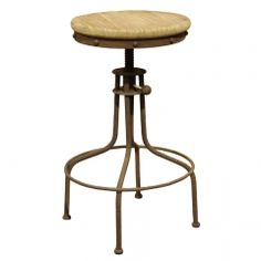 Swivel seated industrial loft bar stool is the perfect complement to a kitchen or entertaining space. An antique rust finish and wood are combined to create a strong rustic/industrial statement. This industrial looking stool is inspired by the factories of the 1930s. The vintage feeling design and the reclaimed wood add a touch of personality yet the sleek metal frame shows that it is entirely grounded in modernity.