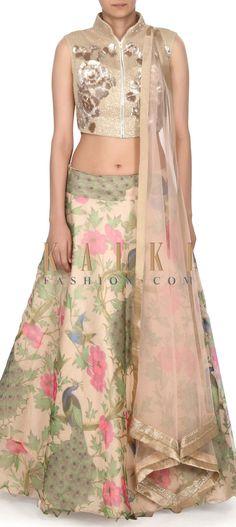 Buy this Beige lehenga featuring in peacock motif print only on Kalki