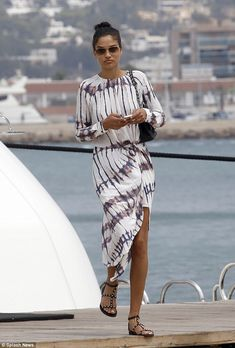 Centre of attention: Victoria's Secret model Shanina Shaik leaves the yacht where she's be...