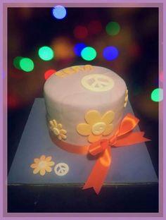 Hippie. Peace. Orange. Purple. 60's. Birthday. Gift. Smitten cakes
