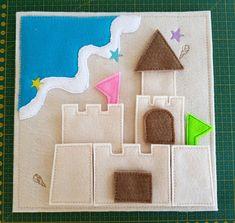 Items similar to Sand Castle Puzzle Quiet Book Page on Etsy Diy Quiet Books, Felt Quiet Books, Baby Quiet Book, Quiet Book Patterns, Felt Patterns, Book Activities, Toddler Activities, Indoor Activities, Summer Activities