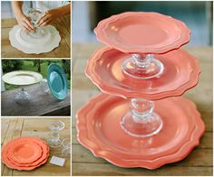 Plate and Glass Cake Stand