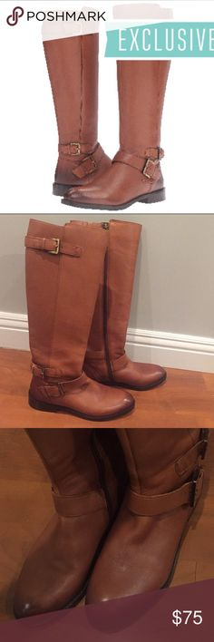 Sam Edelman Moore boots Sam Edelman Moore riding cognac boots. Size 6. Only worn once. But they're too small for me. Fit more like a 5.5-6. Super cute for fall and winter! No box  SKU: #8823994 Leather upper. Side zip closure. Adjustable buckles. Man-made lining. Lightly cushioned footbed. Man-made outsole. Stacked heel. Product measurements were taken using size 8.5, width M. Please note that measurements may vary by size.  Measurements: Heel Height: 1 in Weight: 1 lb 5 oz Circumference: 15…