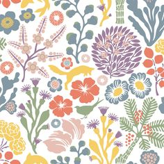 The Borastapeter Rävdunge wallpaper was designed by Hanna Werning as part of her Wonderland collection for Borastapeter. Inspired by the game of life played by wildlife, this boldly illustrative pattern features a scattering of leaping foxes, swimming Modern Wallpaper, Wallpaper Roll, Swedish Wallpaper, Wallpaper Direct, Green Wallpaper, Wallpaper Online, Designer Wallpaper, Multicolor Wallpaper, Brewster Wallpaper
