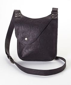 Love this Black Embossed Fold-Over Leather Crossbody Bag by I Love Accessories on #zulily! #zulilyfinds