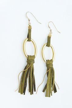 awesome Leather Jewelry Fringes Long Earrings in Olive Green by zozichic, $65.00...
