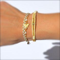 Bracelet doré et blanc -Bijoux ENORA-
