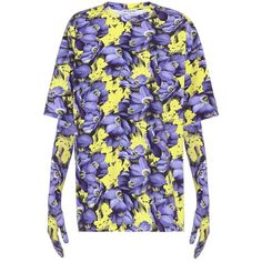 Balenciaga Oversized T-Shirt With Gloves ($575) ❤ liked on Polyvore featuring tops, t-shirts, purple, floral t shirt, flower print top, floral tee, floral print tee and balenciaga
