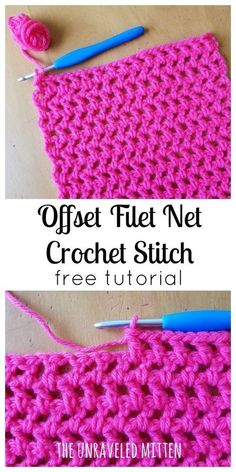 Offset Filet Net Stitch | free crochet tutorial | The Unraveled Mitten | Easy crochet pattern | beginner