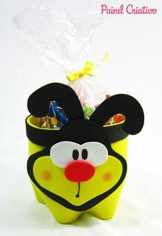 passo a passo lembrancinha abelhinha eva porta guloseimas reciclagem garrafa pet aniversario dia das crianças