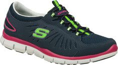 Keep your inertia going with the SKECHERS Gratis - In Motion shoe. Smooth faux leather and mesh fabric upper in a slip on bungee laced sporty casual sneaker with stitching, overlay and perforation accents.Padded collar and tongue. Soft fabric shoe lining. Cushioned comfort insole. Super lightweight