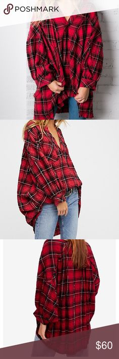 NWOT Free People Not your boyfriends tunic New without tags Free People Not your boyfriends tunic. Oversized plaid tunic with high low raw hemline. Size XS. Best worn with leggings or jeans with a classic front tuck. Free People Tops Tunics