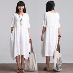 Loose Fitting Long Maxi Dress Summer Dress in White by deboy2000