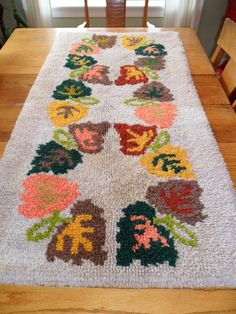Vintage Latch Hook Rug 53 X 27 Fall Leaves Shabby by KathiJanes, $39.95