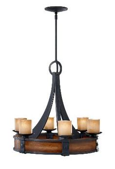 """Buy the Feiss Antique Forged Iron / Aged Walnut Direct. Shop for the Feiss Antique Forged Iron / Aged Walnut Madera 6 Light 1 Tier Chandelier with """"Fleur De Lis""""Glass Shades and save. Simple Chandelier, Candle Chandelier, Rustic Chandelier, Chandelier Shades, Rustic Lighting, Chandelier Lighting, Candle Sconces, Lighting Ideas, Cabin Lighting"""