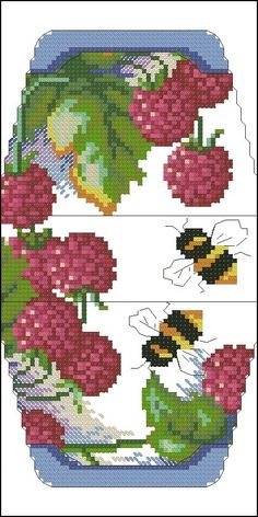 Raspberries and bees purse pattern Cross Stitch Fruit, Cross Stitch Kitchen, Cross Stitch Heart, Cross Stitch Flowers, Purse Patterns, Loom Patterns, Beading Patterns, Cross Stitching, Cross Stitch Embroidery