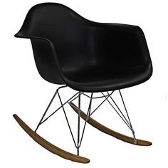 Wood rocker bottoms make this chic, modern black lounge chair move with ease.