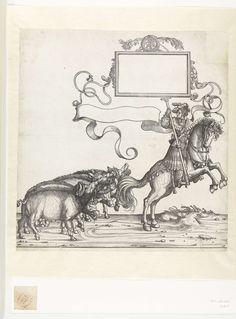 Hans Burgkmair (der Ältere) | Vijf wilde zwijnen en standaarddrager te paard, Hans Burgkmair (der Ältere), 1483 - 1526 | Vijf wilde zwijnen met lauwerkransen op hun kop lopen in een rij. In de triomftocht van keizer Maximiliaan I volgen zij een jager die is weergegeven als standaarddrager. Het paard waar de jager op zit, steigert terwijl hij de standaard met de lege cartouche vasthoudt. Naast de ruiter is een lege tekstband afgebeeld.
