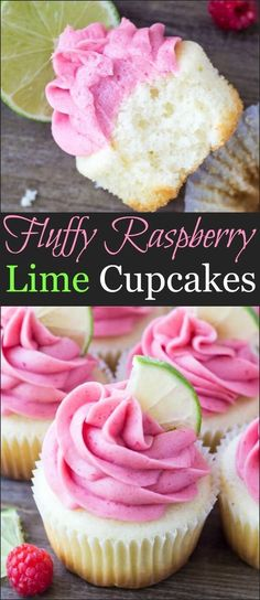 Fluffy Raspberry Lime Cupcakes These Raspberry Lime Cupcakes are so pretty and have such a fun flavor combo. They start with moist vanilla cupcakes with a fresh hint of lime, then they're frosted with raspberry buttercream made from fresh berries. Just Desserts, Delicious Desserts, Dessert Recipes, French Desserts, Delicious Cupcakes, Food Cakes, Cupcake Cakes, Cup Cakes, Cupcake Emoji
