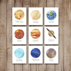 Ultimate Watercolor Planets Decor Wall Art Print Set of 9 Digital Art Prints You will receive one each of the following: -Mercury -Venus -Earth -Mars -Jupiter -Saturn -Uranus -Neptune -Pluto  I also offer the Moon separately here: http://etsy.me/1P2hvp2 And The Sun and Moon can be found here: http://etsy.me/29jVyXz  All prints are sold un-matted and un-framed. The image in this listing is a digital representation of the final print. Please keep in mind that printed colors can vary slightly…